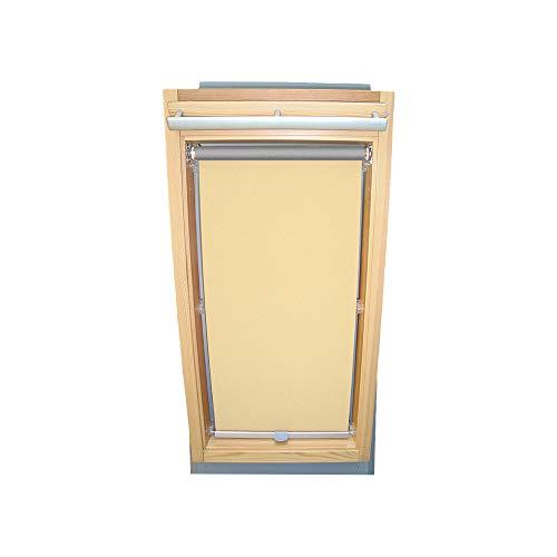 Rollo für VELUX Dachfenster THERMO Alu-Rückseite Dachfensterrollo für TYP GGL/GPL/GHL - 102 - Farbe Creme - mit Haltekrallen