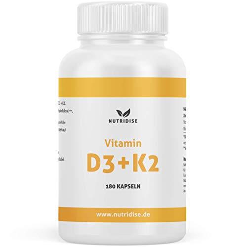Nutridise® Vitamin D3 + K2 Kapseln – 180 Kapseln mit 1000 IE D3 + 200 µg K2 MK7 99,99% Trans-Form – optimales D3 / K2 Verhältnis - hochdosiert, laborgeprüft