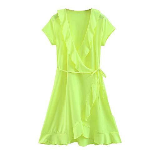Vestido Fluorescente con Volantes en Verde