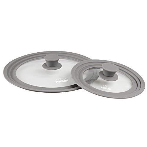 STONELINE® Universal Glasdeckel Set, 2-teilig, mit Silikonrand, für 16/18/20 cm und 24/26/28 cm
