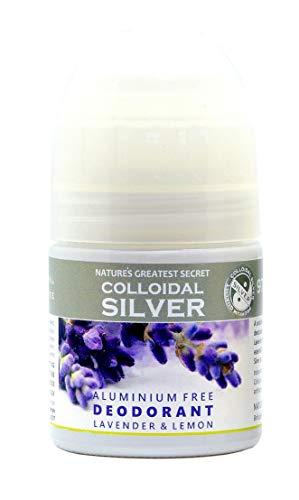 Nature 's Greatest Secret Premium Calidad Deodorant de plata coloidal, aceites esenciales. Lavanda, libre de aluminio, antibacteriano, bolígrafo, 50ml