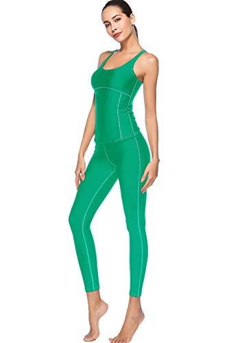 Yoga Conjunto de Ropa Mujer Chaleco Deportivo Top y Leggings Gimnasio Gym Fitness Entrenamiento Ajustadas Stretch-Fit Pantalones Conjuntos Set 2 Piezas Ropa Deportiva Vestimenta Elástico Transpirable