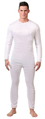 Mens Plain White Full Length Jumpsuit Bodysuit Stage Dance Performance Anonymous Fancy Dress Costume Outfit Size Large (White)