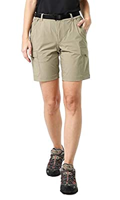 MIER Women's Stretchy Hiking Shorts Quick Dry Cargo Shorts with 6 Pockets, Water Resistant and Lightweight, Rock Grey, 12(Exclude Belt