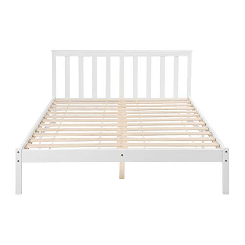 IPOTIUS Double Bed White Wooden Bed Frame with Slatted Base and Headboard, Ideal for Adult Children Students Teenagers, Fits for 140x190cm Mettress