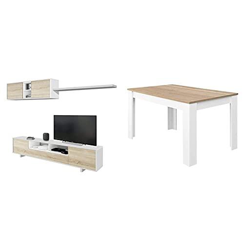 Habitdesign Mueble De Salon Moderno, Modulos Comedor, Modelo Belus + Mesa De...