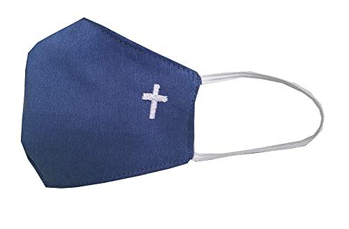 Accesorio comunión niño azul con cruz bordada en color blanco