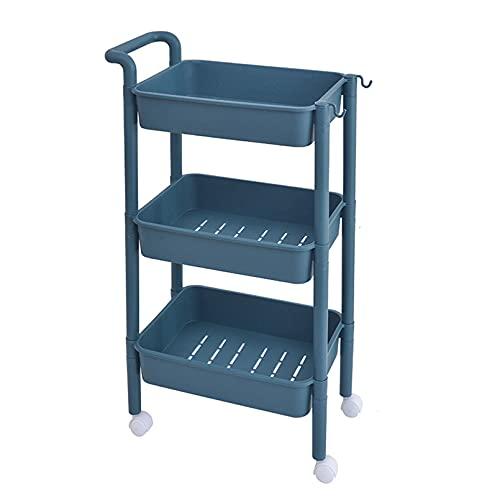 Carrito de Cocina Living Auxiliar con 3/4 Niveles Almacenamiento con Ruedas para Cocina, baño, Dormitorio de Almacenamiento,Azul,3 Floors