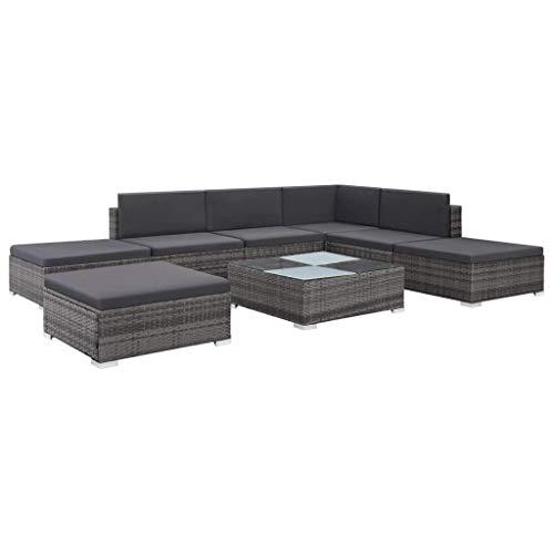 vidaXL Gartensofa 8-TLG. Poly Rattan Grau Gartenmöbel Lounge Sitzgruppe Sofa