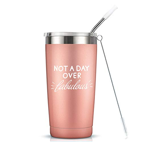 Not A Day Over Fabulous - 20 Oz Stainless Steel Insulated Tumbler Cup with Lid- 21st 30th 40th 50th 60th 70th Birthday Gifts for Women Her Mom Grandma Friend Gift Ideas