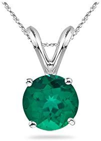 0.40-0.62 Cts of 5 mm AAA Round Russian Lab Created Emerald Solitaire Pendant in 14K White Gold