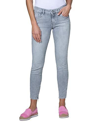 SOCCX Damen Jeans MI:RA mit Used-Optik und Back Prints