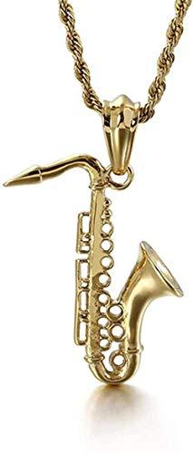ZGYFJCH Co.,ltd Collar Mujer Hombre Collar de Acero Inoxidable Micrófono Trompeta Corneta saxofón Instrumentos Musicales Colgante 2021 Colgante Collar