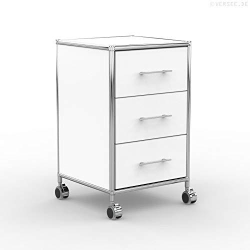 system8x Versee Profi Rollcontainer Design 40cm - Holz Dekor - weiß - Rollen für Harte Böden - 3...