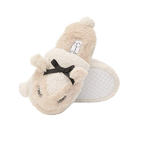 Jessica Simpson Girls Lamb Slippers - Comfy Warm Fuzzy Memory Foam Cute Slip-On House Shoes with Bow (Ivory, Size Large)