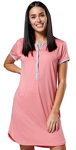 Zeta Ville Mujer Maternidad Abierto Camisa Noche - Rayas Camisón 045 (Coral, 38-40, M)