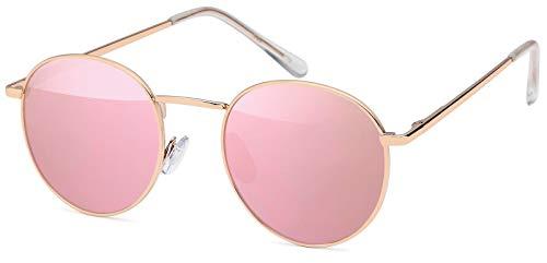 styleBREAKER Sonnenbrille in Panto-Form mit runden Flachgläsern und Metall Bügel, Unisex 09020077, Farbe:Gestell Gold / Glas Pink verspiegelt