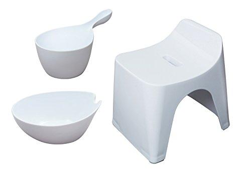 シンカテック ヒューバス お風呂3点セット 風呂椅子25cm&湯おけ&手桶 ホワイト HU-W