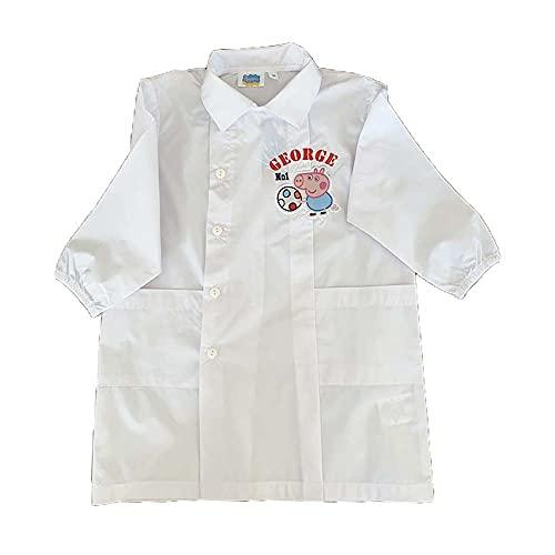 Delantal escolar Pepa Pig | Cierre de botones | 2 bolsillos frontales | Puños elásticos | Cómodo de llevar | Fácil cuidado (4 años)