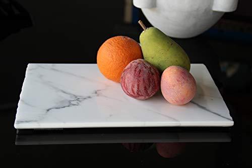 Tagliere in Vero Marmo Statuario di Carrara Fatto a Mano Artigianale in Italia