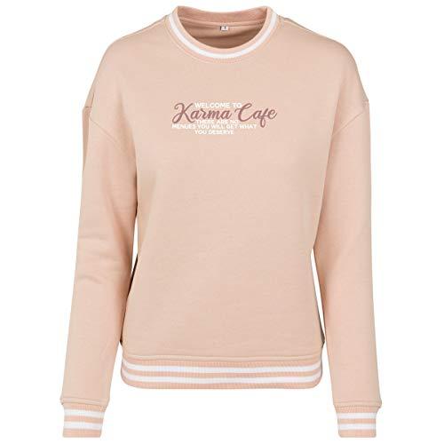 Shirtfun24 Damen Statement Welcome to Karma Cafe Rosegold Print Contrast Sweater Sweatshirt, rosa, XL