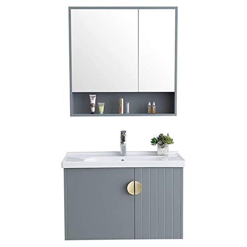 HIZLJJ Armarios con Espejo Mueble de Lavabo de baño de baño Cuarto de baño de Madera Simple Combinación de baño Cuarto de Lavado de cerámica Cuarto de Lavabo Cuarto de Pared Vanidad de Pared Cabineta