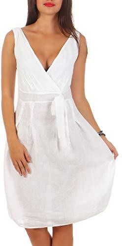 Malito Vestido de Lino Ligera Vestido de Verano 8147 Mujer (XXL, Blanco)