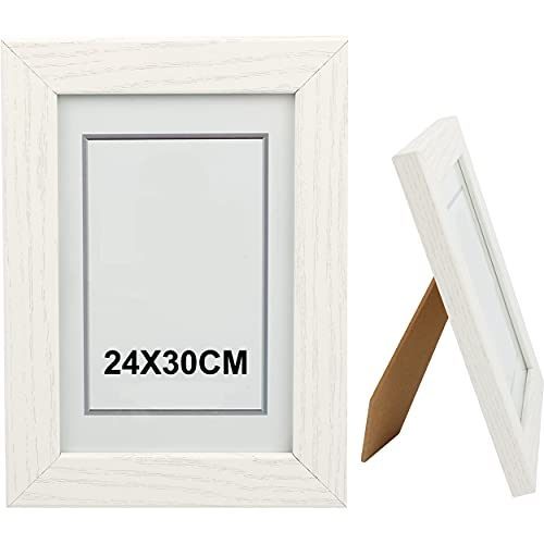 Bilderrahmen, 24 x 30 cm, Weiß, aus Holz, Glasplatte, Fotorahmen für Dekoration