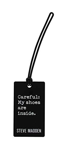 Steve Madden 2-Pack Luggage Tags for Suitcases - Travel ID Identification Labels Set for Bags & Baggage (Black)
