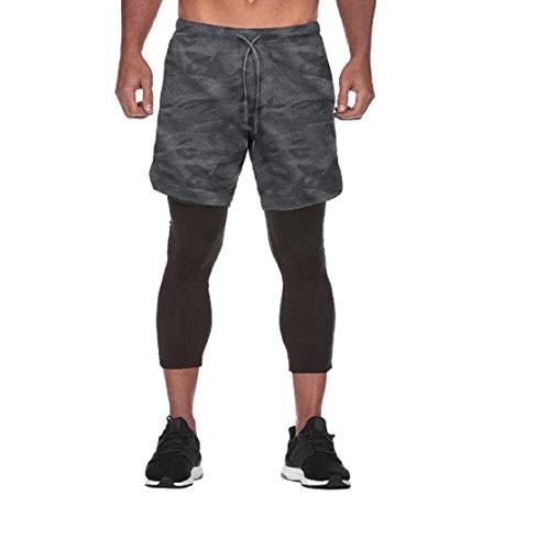 Ducomi Pantalón corto para hombre Fitness + Leggings de compresión 2 en 1 – Pantalones largos y pantalones cortos para gimnasio deportivas ligeras para correr, deportes, baloncesto Black Camo M