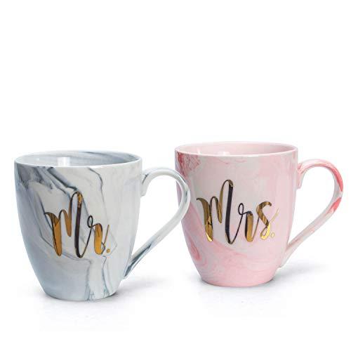 el & groove Set de Tazas XXL Mister & Misses en Porcelana marmoleada Gris y Rosa | Mr. & Mrs. | Jumbo Cup 500ml | Coffee Cup/Tea Cup White Large | Idea para Regalar