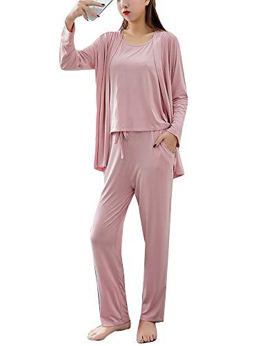 Mujer 3 Piezas Conjunto De Pijamas De Manga Larga Ropa De Dormir