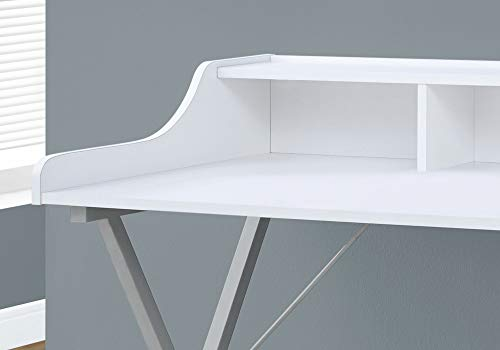 """Monarch Specialties Computer Desk - Writing Desk with Hutch - Home Home & Office Desk - 48""""L (White - Silver Metal Legs)"""