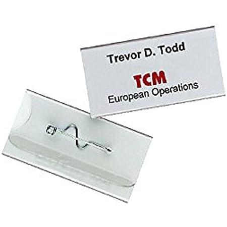 Durable 860619 Porte-badge Universel Fixation par Epingle Torsadée pour Insertion Format 30 x 60 mm Plastique Résistant Transparent Boîte de 10