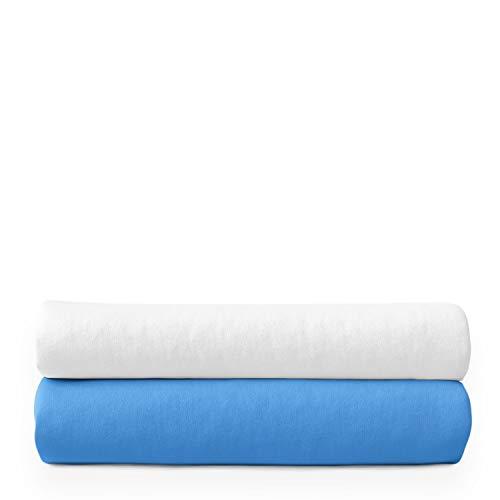 Moltontücher | Baumwolltücher | Spucktücher - 2er Pack | 80x80 cm - 1 Weiß 1 Blau | Schadstoffgeprüft - Hypoallergen | Baby Spucktücher | Flanelltücher | Mulltücher