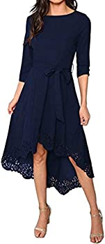 Milumia Women's Floral Lace Cut Dip Hem Round Neck Midi Party Dress with Belt Navy Large