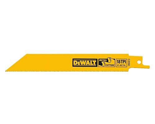 DEWALT Reciprocating Saw Blades, Straight Back, 4-Inch, 18 TPI, 5-Pack (DW4810)