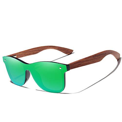 KINGSEVEN Bamboo Wood Polarized Sunglasses- Ultra-Light Maple Frame, Mirror Lenses,The Best Choice For Men & Women Travelers! (Blue)