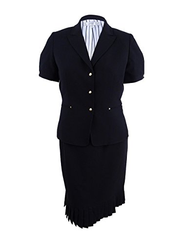 Tahari by Arthur S. Levine Women's Black Bi Stretch Short Sleeve Skirt Suit, 6