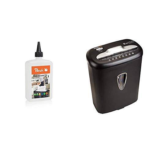 Peach Aktenvernichter-Öl PS100-05 |Inhalt 355 ml | die Pflege für Ihren Aktenvernichter & AmazonBasics - Hochsicherheits-Kreuzschnitt-Aktenvernichter für 8 Blätter, für Papier und Kreditkarten