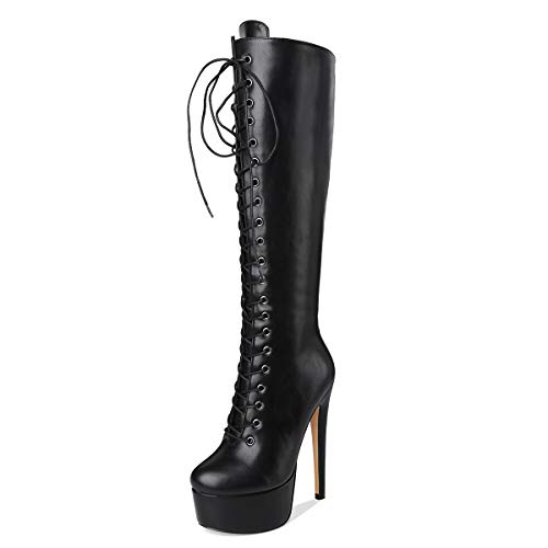 Only maker Botas de mujer con plataforma, botas altas con tacón de Stiletto hasta la rodilla, bicolor, color Negro, talla 43 EU