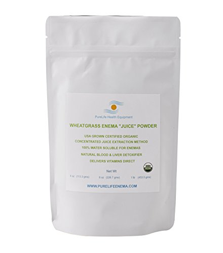Wheatgrass Enema Juice Powder/Liver Detoxifier / 1/4 LB Certified Organic/Completely Water Soluable/Gluten & GMO Free/USA Grown/Ships Fresh from Manufacturer