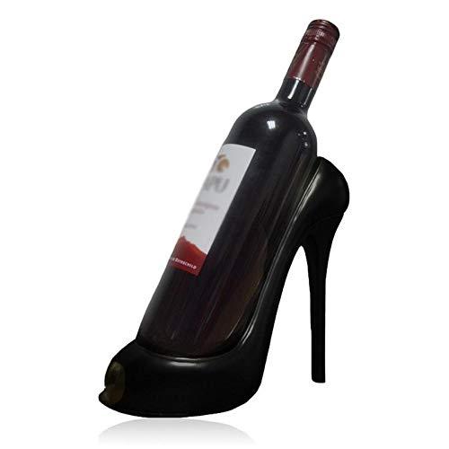 Botelleros Vino Innovadora de tacón alto estante del vino de resina botella de vino del soporte de exhibición de la sala principal del hotel Tabla ornamento de la boda Decoración (Color : Black)