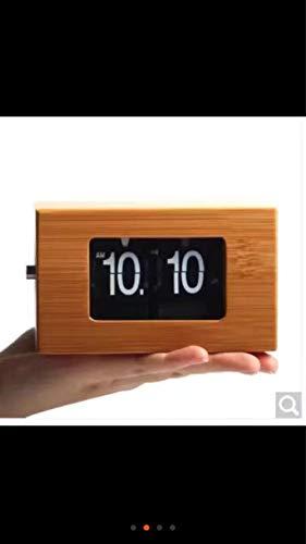 hlyhly digitaal polshorloge van bamboe en hout, met klapdeksel, vierkant, groot horloge