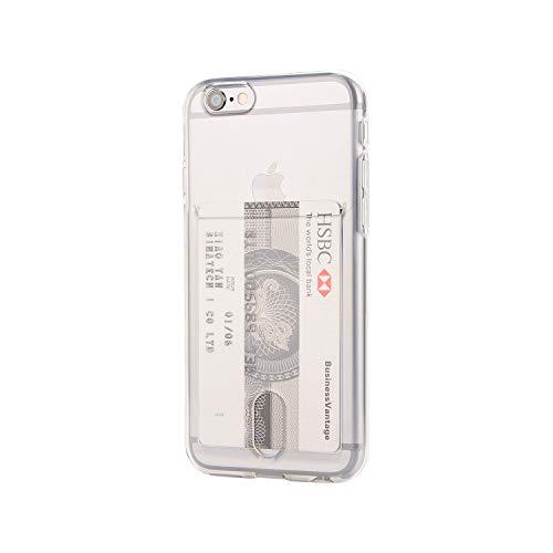 Wormcase ® Kunststoffhülle mit Kartenfach kompatibel mit iPhone 6 und iPhone 6S - Farbe Transparent - TPU Schale Back-Cover Schutz-Tasche Kratzfest Stoßfest Bumper Crystal-Clear dünn leicht schmal