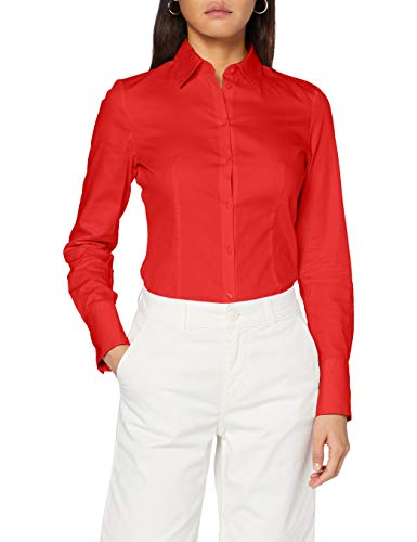 HUGO Damen Bluse The Fitted Shirt, Open Pink693, 42