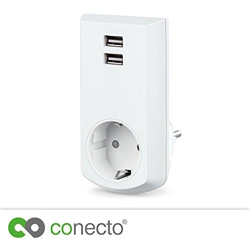 conecto CC50248 Schutzkontakt (Schuko) -Steckdose mit 2 USB Anschlüssen (2,1A/5V), Weiß
