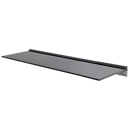 Wandregal aus Glas, ideal für Badezimmer, Küche, Wohnzimmer, Optik: schwebend, Schwarz, glas, Schwarz , 60 cm