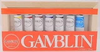 Gamblin Artist's Oil Colors 7 Tube Set 37ml - 1.25oz in Wooden Canvas Box