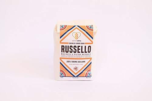 Farina integrale di grano antico Russello, 5kg, molita a pietra naturale. 100% naturale, 100% siciliana.